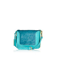 Turquoise leather pony skin cross body bag