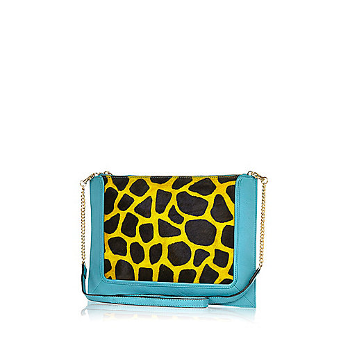 Turquoise leather giraffe cross body bag