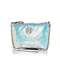 Silver snake cross body bag