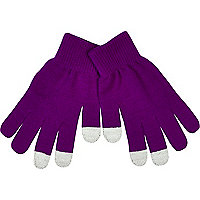 Purple touch screen gloves