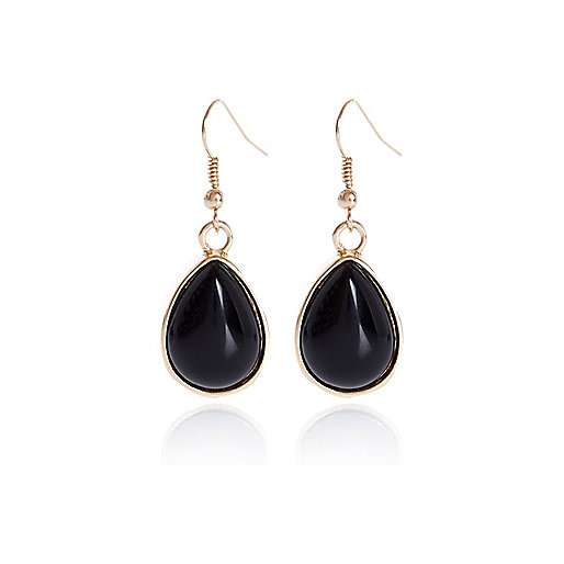 Black semi-precious stone drop earrings