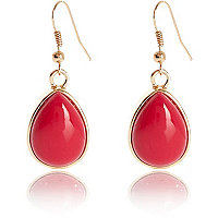 Pink semi-precious stone drop earrings