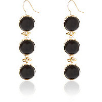 Black semi-precious triple stone earrings