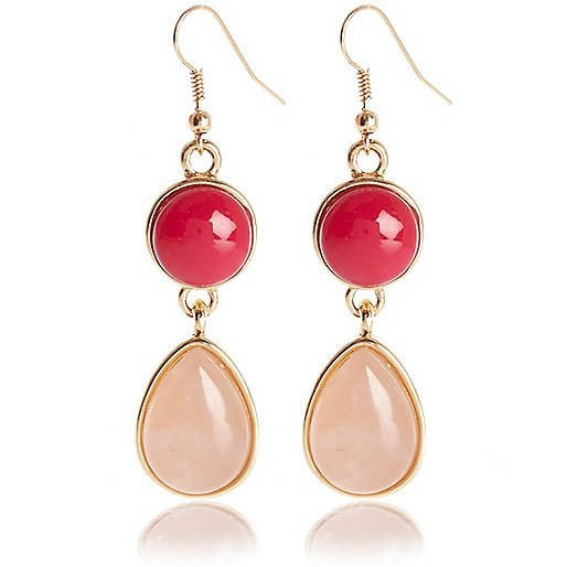 Pink semi-precious double stone drop earrings