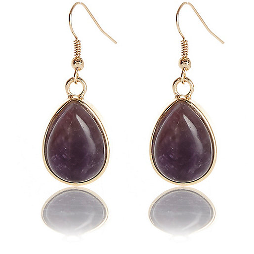 Purple semi-precious Amethyst drop earrings