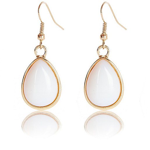 White semi-precious stone drop earrings