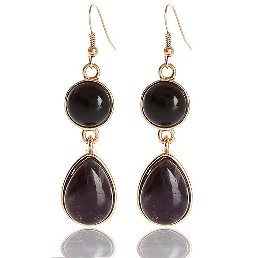 Purple semi-precious stone drop earrings