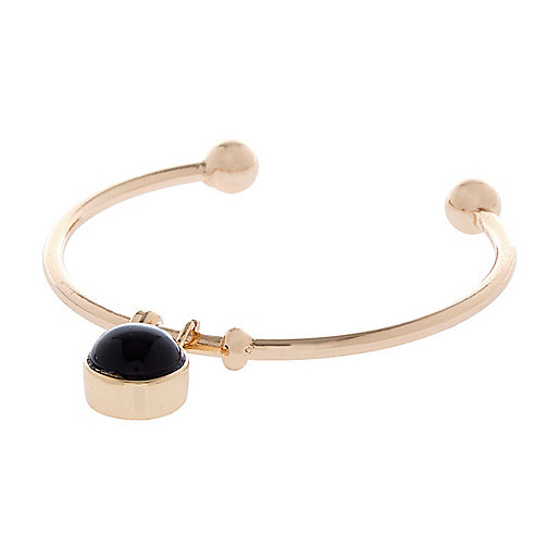 Black semi-precious stone bangle