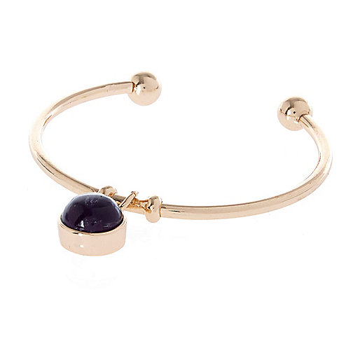 Purple Amethyst semi-precious stone bangle