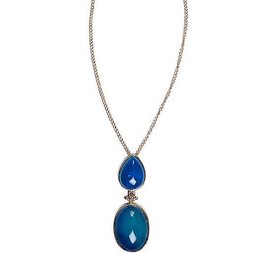 Blue double semi-precious stone necklace
