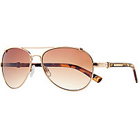 Gold tone tortoise shell arm aviators