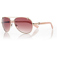 Gold tone pink arm aviators