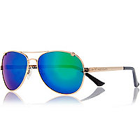 Gold tone mirrored aviator sunglasses