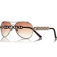 Gold tone chain arm aviator sunglasses