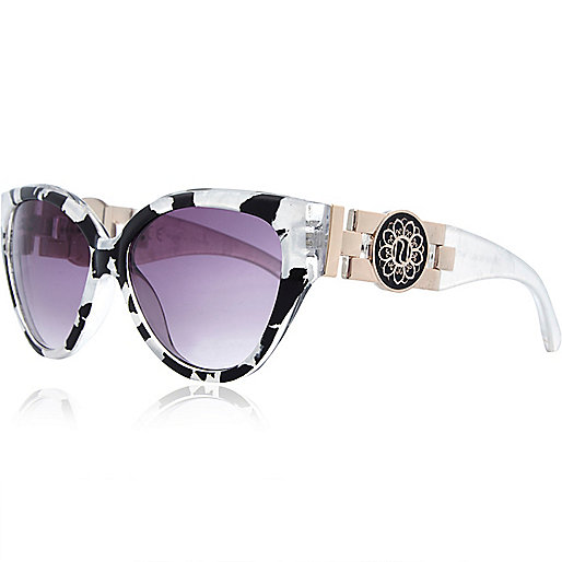Black and white print cat eye sunglasses