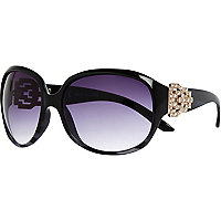 Black diamante oversized sunglasses