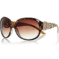 Brown tortoise shell diamante sunglasses