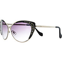Black diamante cat eye sunglasses