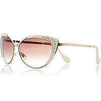 Cream diamante cat eye sunglasses