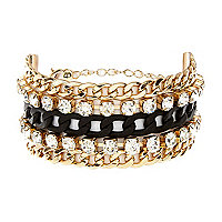 Black gem stone stacked curb chain bracelet
