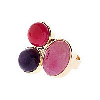 Pink semi-precious triple stone ring