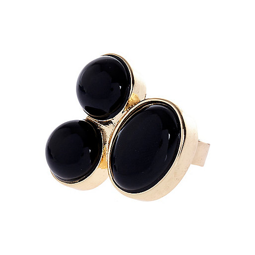 Black semi-precious triple stone ring