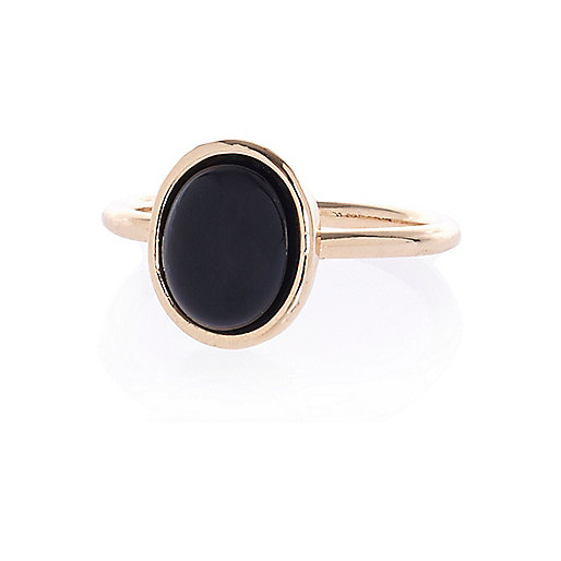Black semi-precious single stone ring