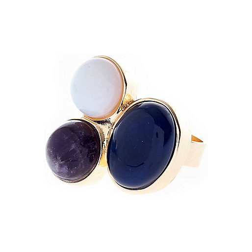 Blue semi-precious triple stone ring