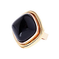 Black semi-precious stone mixed metal ring