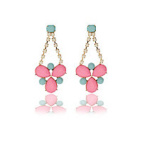 Pink gem stone drop earrings