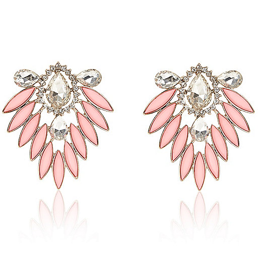 Pink deco stud earrings