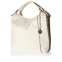 Cream zip side slouch bag