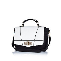 Black and white geometric panel satchel