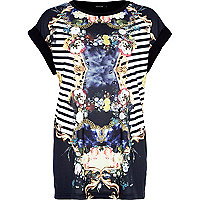 Black floral mirror print t-shirt