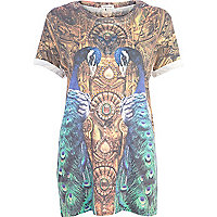 Blue peacock print embellished t-shirt