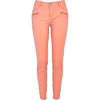 Light coral skinny biker trousers