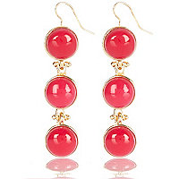 Pink semi-precious triple drop earrings