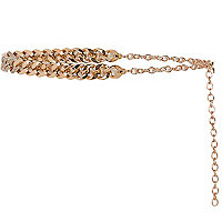 Gold tone diamante curb chain belt