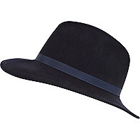 Navy ribbon trim fedora hat