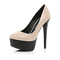 Light pink two-tone platform stilettos