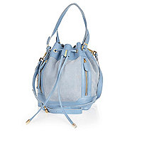 Light blue leather duffle bag