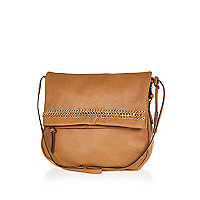 Tan leather fold over messenger bag