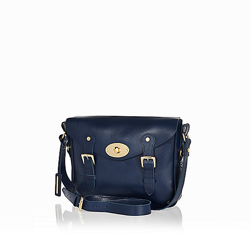 Navy leather twist lock satchel