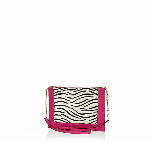 Pink leather zebra print cross body bag