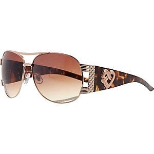 Gold tone tortoise shell aviator sunglasses