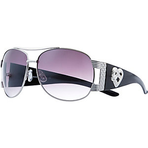 Silver tone aviator sunglasses