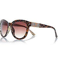Brown leopard print gem stone sunglasses