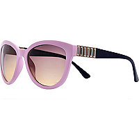 Light pink gem stone cat eye sunglasses