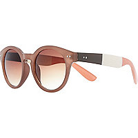 Brown colour block round retro sunglasses
