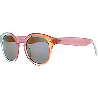 Pink colour block round retro sunglasses